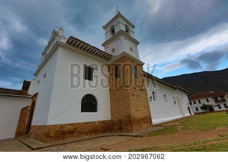 July 13 2017 Villa de Leyva Colombia: cathedral building in the town known for its unchanged colonial style architecture