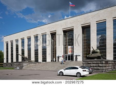 MOSCOW RUSSIA - JULY 21 2017: Museum of the Soviet Army in Soviet Army Street on summer day.The museum was opened on May 25 1916.