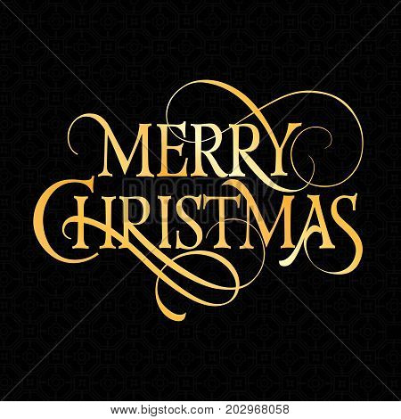 Merry Christmas lettering. Christmas greeting card design element. Typed text, calligraphy. For greeting cards, posters, leaflets and brochures.