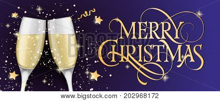 Merry Christmas lettering. Christmas greeting card with two clinked goblets of champagne. Typed text, calligraphy. For greeting cards, posters, leaflets and brochures.