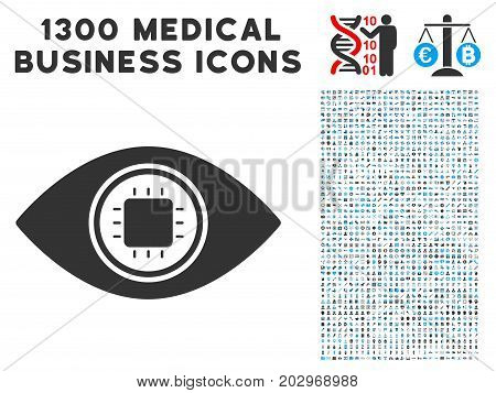 Electronic Eye Lens gray vector icon with 1300 clinic commercial pictograms. Clipart style is flat bicolor light blue and gray pictograms.