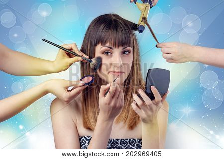 Skinny young girl portrait in beauty salon with colourful shiny concept