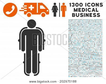 Exoskeleton gray vector icon with 1300 healthcare business icons. Clipart style is flat bicolor light blue and gray pictograms.