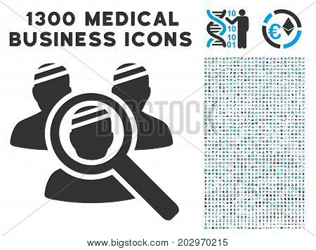 Explore Patients gray vector icon with 1300 medical business symbols. Set style is flat bicolor light blue and gray pictograms.