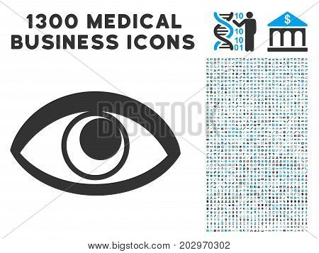 Eye grey vector icon with 1300 healthcare commercial symbols. Collection style is flat bicolor light blue and gray pictograms.