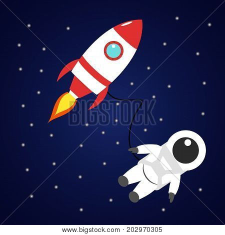 Astronaut and red rocket in space. Vector cartoon character with spaceship on dark background. Spaceman between the stars.