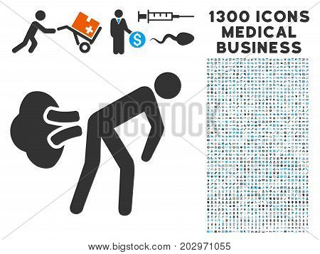 Fart Gases gray vector icon with 1300 clinic commerce symbols. Clipart style is flat bicolor light blue and gray pictograms.