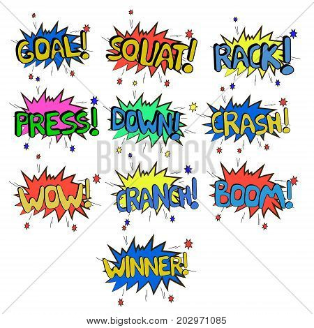 Sports comic sound effects for powerlifting and other sports. Graphic display of sounds for comics.