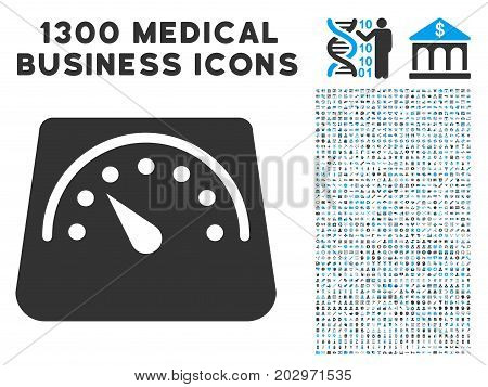Floor Scales gray vector icon with 1300 health care commerce symbols. Set style is flat bicolor light blue and gray pictograms.