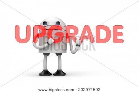 Robot needs an upgrade. 3d illustration