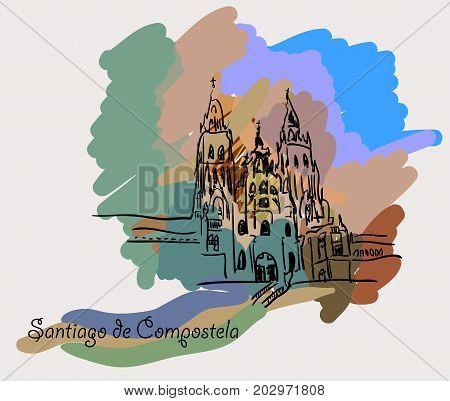 Santiago de Compostela in a colorful background