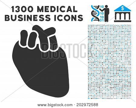 Heart Organ gray vector icon with 1300 doctor commercial icons. Collection style is flat bicolor light blue and gray pictograms.