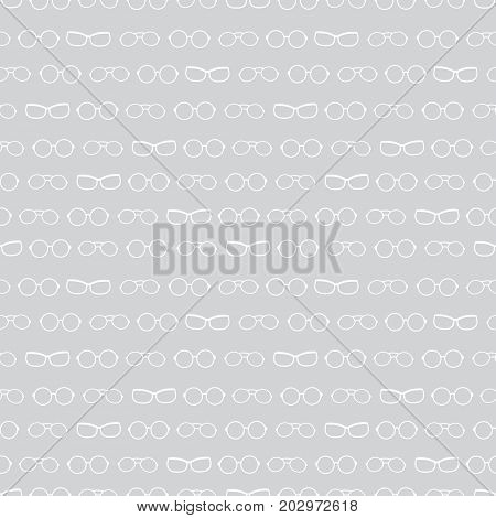 Vector silver grey and white glasses texture accessories stripes seamless pattern. Great for eyewear themed fabric, wallpaper, packaging. Surface pattern design.