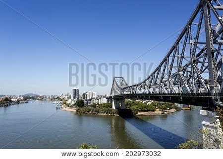 BRISBANE, AUSTRALIA - August 29, 2017: View towards the south side of the Story Bridge a steel truss cantilever bridge spanning the Brisbane River in Brisbane Australia.