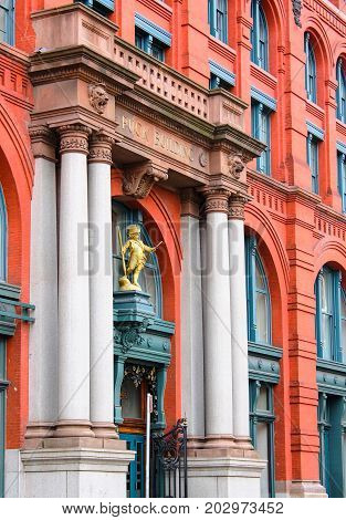 New York USA - 27 September 2016: The Puck Building is a historic building located in the Nolita neighborhood of Manhattan New York City. It occupies the block bounded by Lafayette Houston Mulberry and Jersey Streets.