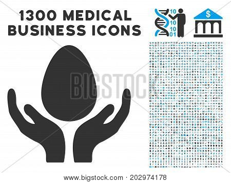 Incubator Care Hands gray vector icon with 1300 doctor commerce pictograms. Set style is flat bicolor light blue and gray pictograms.