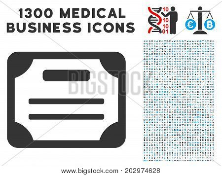 License grey vector icon with 1300 health care business pictographs. Set style is flat bicolor light blue and gray pictograms.