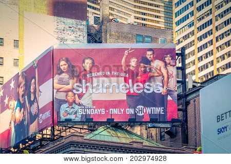 New York USA - September 27 2016: A large billboard advertising contemporary television program Shameless along the streets of Broadway.
