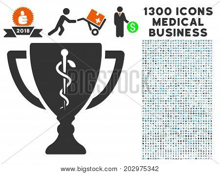 Medical Award Cup grey vector icon with 1300 medicine business pictograms. Set style is flat bicolor light blue and gray pictograms.
