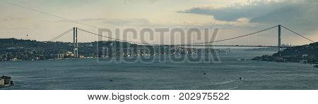 Bosphorus Panorama with Bridges and The Old Town Istanbul on the background