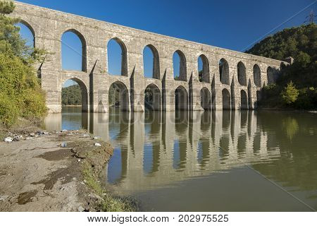 The Maglova Aqueduct built by Mimar Sinan Istanbul-Turkey