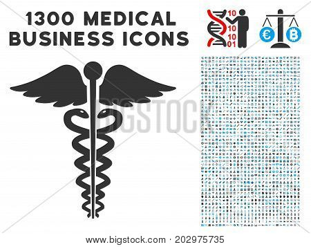 Medical Caduceus Emblem gray vector icon with 1300 medicine commerce icons. Collection style is flat bicolor light blue and gray pictograms.