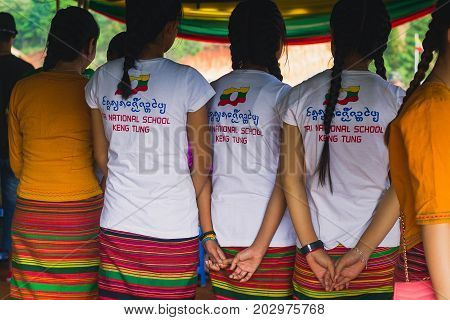 Loi Kaw Wan - Shan State Army(SSA) Burma - May 21: Unidentified People Dress Up Beautifully In A Shan State Army Day On May 21 2017 At Loi Kaw Wan Muang Sad In Shan State Army(SSA) Burma.