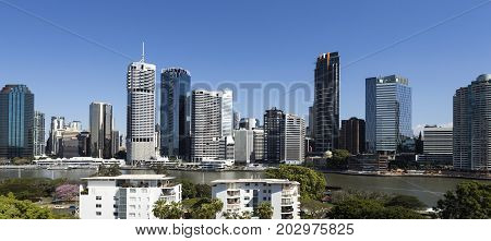 BRISBANE, AUSTRALIA - August 29, 2017: View of the city center seen from the Kangaroo Point side of the Story Bridge Brisbane Australia