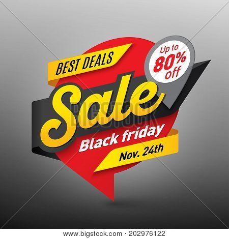 Black friday sale banner template special offer end of season. Vector illustration