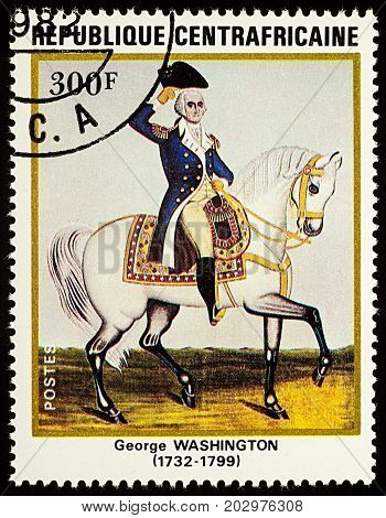 Moscow Russia - September 06 2017: A stamp printed in Central African Republic shows The first US President George Washington (1732-1799) on a white horse circa 1982