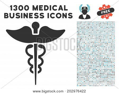Medicine Caduceus Symbol gray vector icon with 1300 medical commerce icons. Collection style is flat bicolor light blue and gray pictograms.