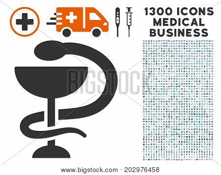 Medicine Snake Emblem grey vector icon with 1300 health care business icons. Clipart style is flat bicolor light blue and gray pictograms.
