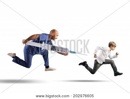 Fear of the vaccine concept with running kid pursued by a doctor