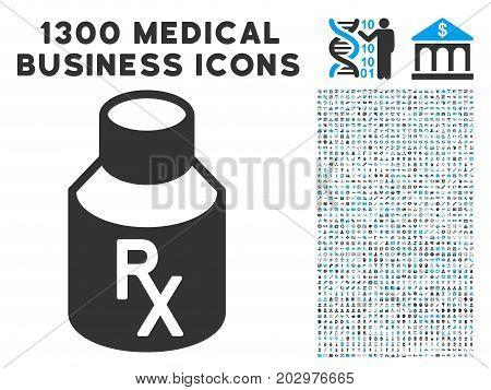 Mixture Bottle grey vector icon with 1300 health care commercial icons. Collection style is flat bicolor light blue and gray pictograms.