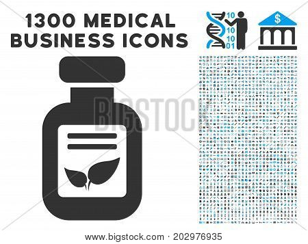 Natural Drugs Vial grey vector icon with 1300 doctor business symbols. Collection style is flat bicolor light blue and gray pictograms.