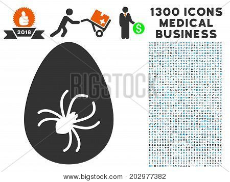 Parasite Egg gray vector icon with 1300 medicine business symbols. Clipart style is flat bicolor light blue and gray pictograms.
