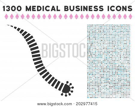 Parasite Worm grey vector icon with 1300 medicine commercial icons. Set style is flat bicolor light blue and gray pictograms.