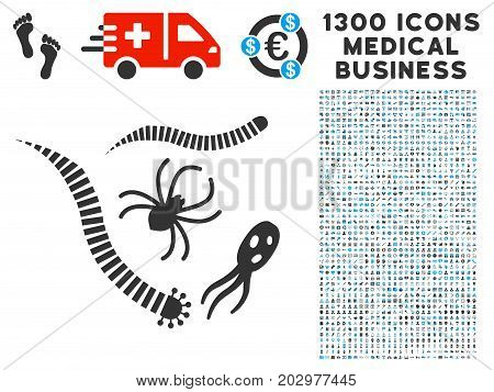 Parasites grey vector icon with 1300 medicine business icons. Set style is flat bicolor light blue and gray pictograms.