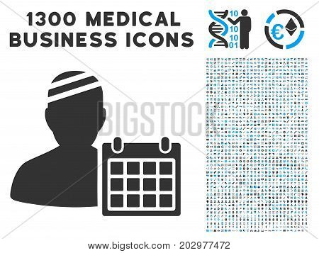 Patient Appointment Calendar grey vector icon with 1300 doctor business pictograms. Clipart style is flat bicolor light blue and gray pictograms.