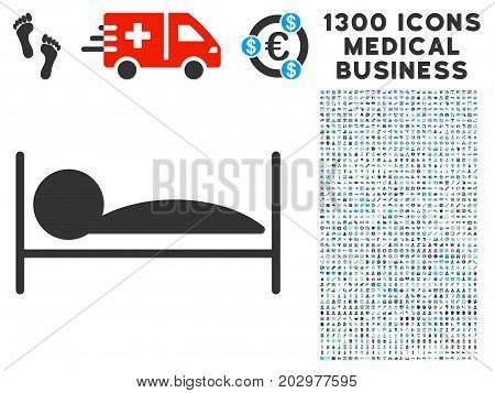 Patient Sleep grey vector icon with 1300 medicine commerce pictographs. Collection style is flat bicolor light blue and gray pictograms.