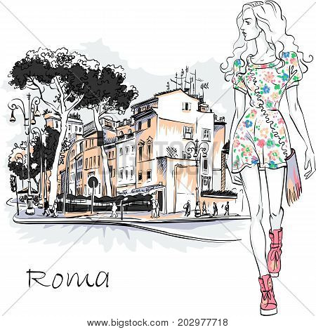 Cute beautiful fashion girl in summer dress on typical Roman street with Stone pine trees in the old city in Rome, Italy.
