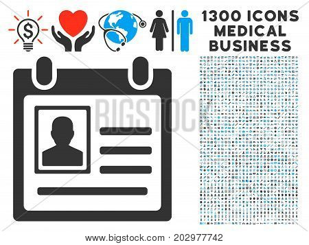 Person Cardfile gray vector icon with 1300 clinic commerce icons. Clipart style is flat bicolor light blue and gray pictograms.