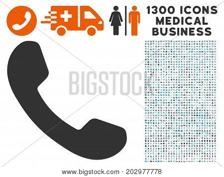 Phone Receiver grey vector icon with 1300 healthcare business pictographs. Set style is flat bicolor light blue and gray pictograms.