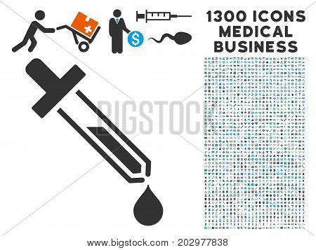 Pipette gray vector icon with 1300 medical commerce icons. Collection style is flat bicolor light blue and gray pictograms.