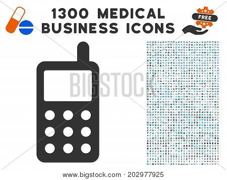 Portable Radio Transmitter grey vector icon with 1300 medicine commercial symbols. Clipart style is flat bicolor light blue and gray pictograms.