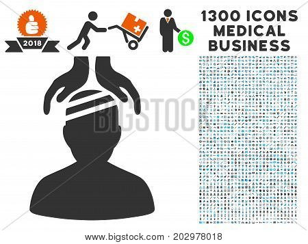 Psychiatry Patient Cure Hands gray vector icon with 1300 doctor commercial icons. Collection style is flat bicolor light blue and gray pictograms.