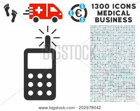 Radio Transmitter Radiation gray vector icon with 1300 clinic commerce icons. Collection style is flat bicolor light blue and gray pictograms.