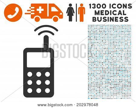 Radio Transmitter Signal gray vector icon with 1300 healthcare commerce icons. Set style is flat bicolor light blue and gray pictograms.