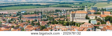 Beautiful town of Mikulov with a castle South Moravia, Czech Republic . Panorama