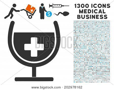 Remedy Syrup Glass gray vector icon with 1300 medical commercial icons. Set style is flat bicolor light blue and gray pictograms.